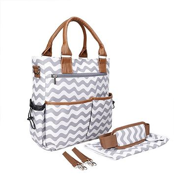 Creative Wave Stripe Mommy Diaper Bag Nappy Handbag Stroller Baby Bag Portable Travel Large Maternity Bag bolsa maternidade