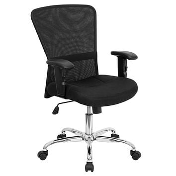Mid-Back Mesh Contemporary Swivel Task Chair with Chrome Base and Height Adjustable Arms