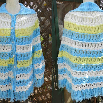 Vintage White, Blue & Yellow Crochet Shawl Sweater, Long Fringe Handmade Wrap Scarf, Hand knit Poncho, Ladies Fashion Accessories Size S/M