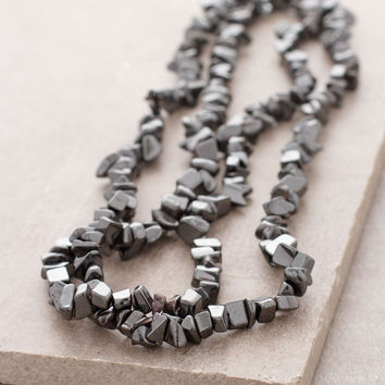 Hematite Gemstone Nugget Necklace