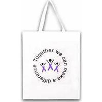 Alzheimers, Epilepsy, ADHD Awareness Grocery Purple Ribbon Tote Bag