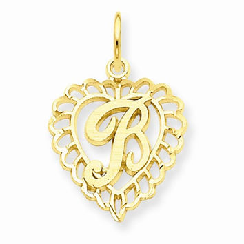 14k Yellow Gold Heart Shaped Initial B Charm