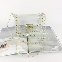 PVC Transparent Rivet Crossbody Handbag