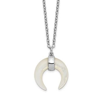 Sterling Silver Mother Of Pearl Crescent Moon Pendant Necklace