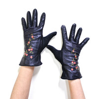 Vintage Black Leather Gloves - Embroidered Needle Point Floral Accessory / Pink Flowers