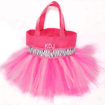 Pink with Polka Dot and Zebra Ribbon Tutu Bag with Monogram Name Embroidered on it.  Little Girl's Tote, Dance Clothes Bag, Princess Style