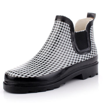 Rubber Shoes Plaid Men Korean Boots [4915340804]