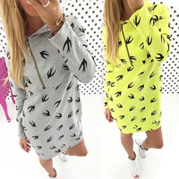 Swallow Printed Slim Hooded Dress
