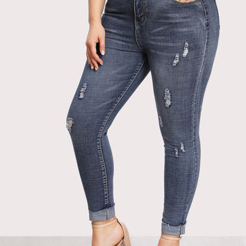 Dual Pocket Back Ripped Jeans