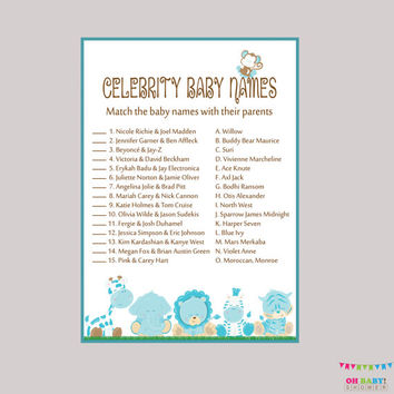 Boy Celebrity Baby Shower Game Printable - Safari Celebrity Baby Name Match - Instant Download - Blue Boy Safari Baby Shower Game - BS0001-B