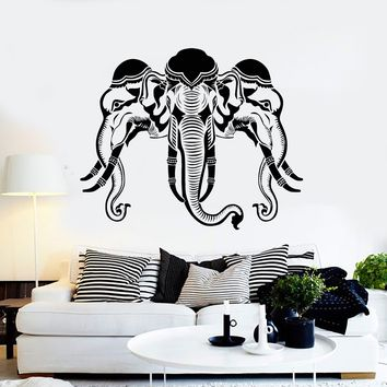 Vinyl Wall Decal Three Elephant Heads India Hinduism Art Stickers Mural Unique Gift (ig5165)