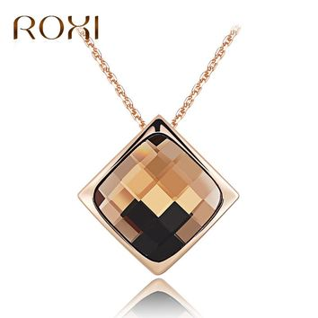 ROXI Women Necklace Rose Gold Statement Necklace Jewelry Crystal Pendant Necklace for Women Long Choker Charm Collier Femme