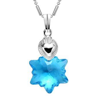Small Cute Sky Blue Snowflake Super Star Crystal Charm Silver-Tone Heart Style 18 Inch Necklace
