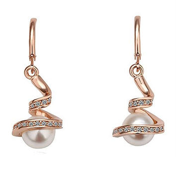 Basket Hill Watches And Gifts Women's Gold Plated Austrian Crystal And Pearl Womens Earrings