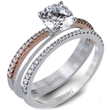 Simon G. Two Tone Bypass Diamond Engagement Ring