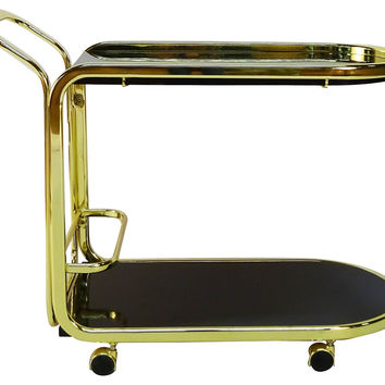 Brass &  Black Lacquer Bar Cart