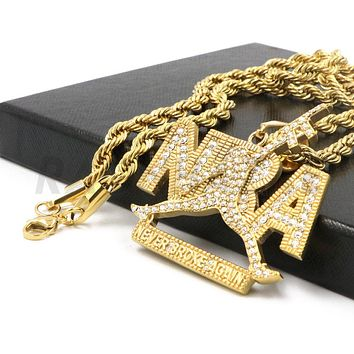 """Stainless Steel Gold """"NBA"""" Never Broke Again Pendant w/ 4mm Rope Chain"""