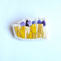 Abstract embroidered brooch mineral gem inspiration in ombre yellows and purple on cream muslin and cream felt hand embroidered OOAK