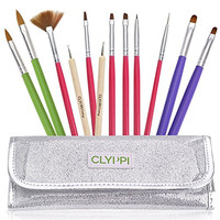 Nail Art, Gel & Acrylic Brushes Set With Dotting Tools - Sparkly Silver Pouch - Professional Painting, Marbling & Detailing Kit - Perfect Gift For Girls, Teens & Women