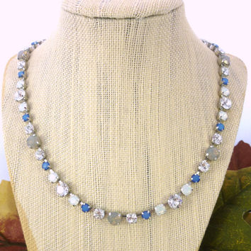 BIJOU- Swarovski crystal tennis-style necklace in multi size crystals, blue, gray, clear and white design by Siggy Jewelry