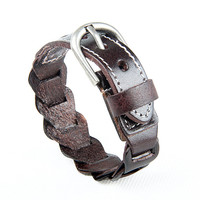 Fashion Punk  Rivets Adjustable Leather Wristband Cuff Bracelet - Great for Men, Women, Teens, Boys, Girls 2707s