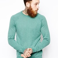 ASOS Crew Neck Sweater in Cotton - Green