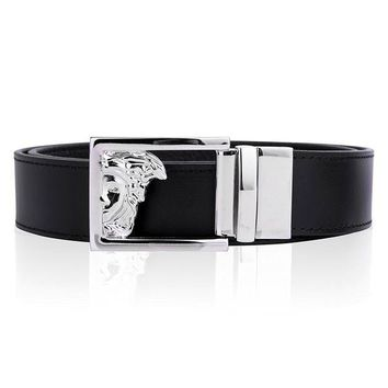 ESBON Versace Collection Mens Black Leather Medusa Logo Adjustable Reversible Belt 207