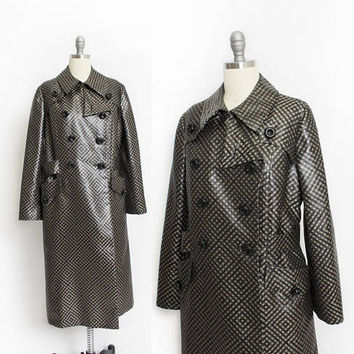 Vintage 1960s Jean Louis Coat - Plaid Silk Satin Double Breasted A-Line Raincoat Trench - Small / Medium