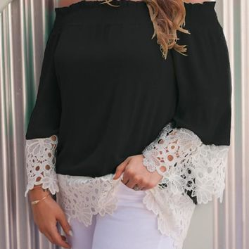 Black Lace Cut Out Off Shoulder Sweet Going out Chiffon Blouse