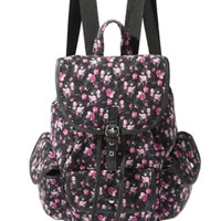 Black Pink Floral Backpack
