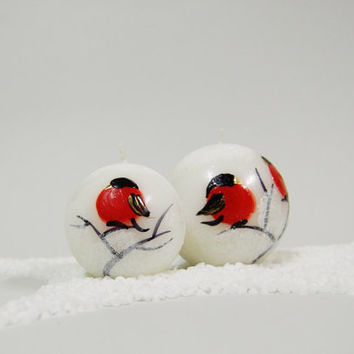 Christmas Candle Ball With Handpainted Red Birds Christmas Table Decor White Christmas Candle