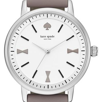 Women's kate spade new york 'crosby' leather strap watch, 34mm - Grey/ Silver