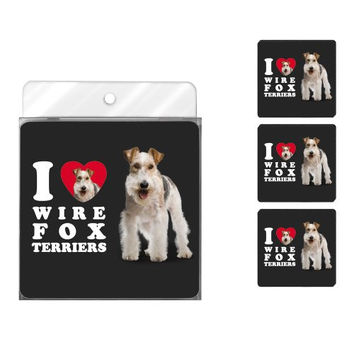 Tree-Free Greetings NC39142 I Heart Wire Fox Terriers 4-Pack Artful Coaster Set