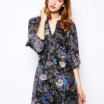 Warehouse Shadow Floral Skater Dress
