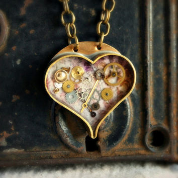 STEAMPUNK HEART NECKLACE - Handcrafted Brass Bezel with Resin and Vintage Watch Parts, Gears and Pink Floral Background - One of a Kind