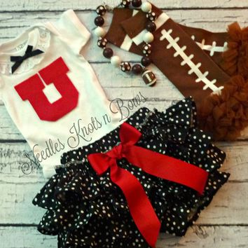Baby Girls University of Utah Outfit, Girls Utes Football Outfit, Coming Home Outfit, Baby Shower Gift