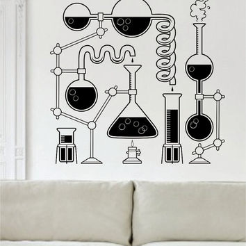 Science Beakers Design Decal Sticker Wall Vinyl Art Home Room Decor