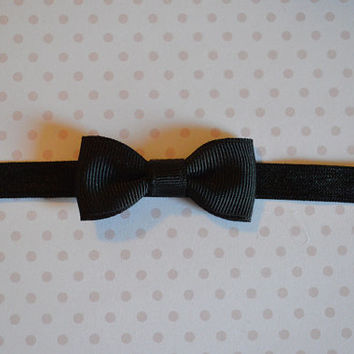 Black Baby Bow Headband. Tiny Black Bow Headband. Baby Hair Accessories. Baby Girls Hair Accessories. Baby Bow Headband. Black Baby Bow