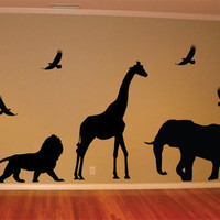 Safari Animals Giraffe Lion Elephant Birds Design Animal Decal Sticker Wall Vinyl Decor Art