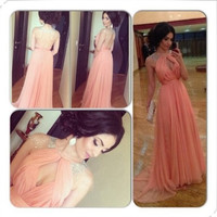 High neck chiffon prom dress long bead party dress backless chiffon bridal wedding dress wedding accessories