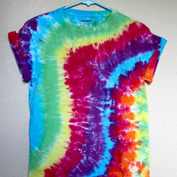 Tie Dye Rainbow Lines Youth Large Shirt Colorful Cotton Hippie Top