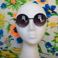 Black Circle Sunglasses Dark Retro Hippie Glasses - Lennon
