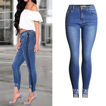 Women Casual Embroidery Bleached Sexy Tightly Skinny Jeans Plus Size Thigh Side Black Line Pencil Denim Pants Femme