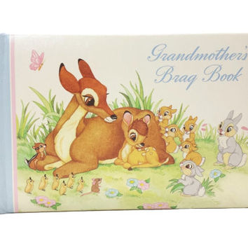 Vintage Disney Bambi Grandmothers Brag Book, Photo Album, Thumper, Woodland Baby Animals, Mothers Mom, Gifts for Grandma, Disneyana, 1970s