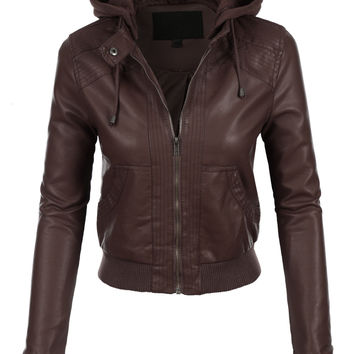 LE3NO Womens Faux Leather Bomber Jacket with Fleece Hood