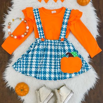 Orange Teal Pumpkin Suspender Skirt Set