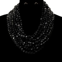 Beads Layered Necklace Set - Black