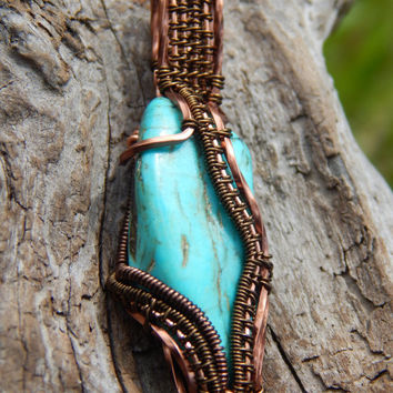wire wrapped turquoise pendant, unique pendant, wrapped turquoise, wire wrap pendant, wire wrapped jewelry, turquoise wire wrap,