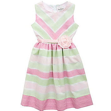 Rare Editions 7-16 Chevron/Horizontal-Stripe Sleeveless Dress - Pink