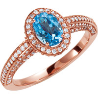 14kt Rose Gold Swiss Blue Topaz & 3/4 CTW Diamond Halo-Styled Engagement Ring